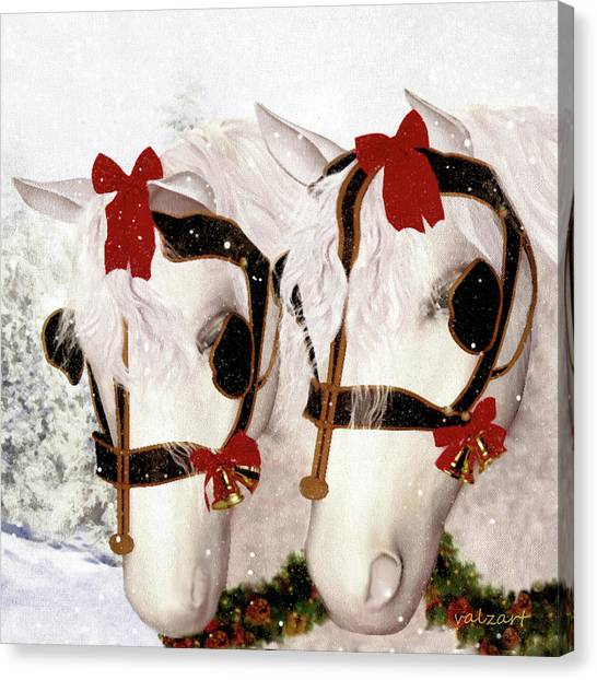 Canvas Print featuring the painting  Snowflake And Holly by Valerie Anne Kelly
