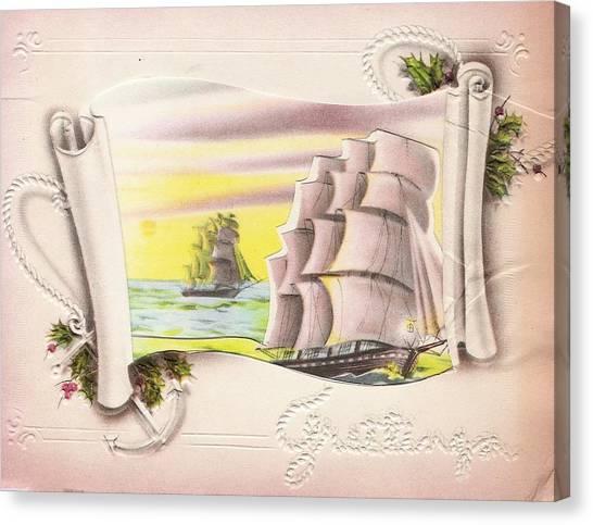 buy christmas cards canvas print christmas illustration 676 vintage christmas cards sailing ships - Where To Buy Christmas Cards