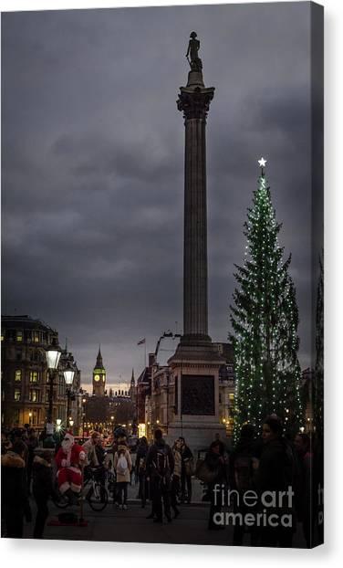 Christmas In Trafalgar Square, London Canvas Print