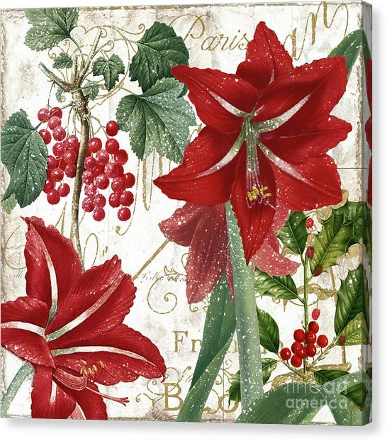 Amaryllis Canvas Print - Christmas In Paris II by Mindy Sommers