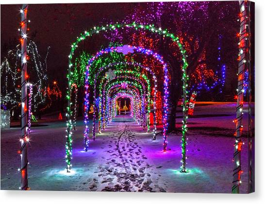 Christmas Light Arches Canvas Print