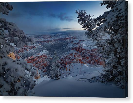 Red Rock Canvas Print - Christmas Light by Edgars Erglis