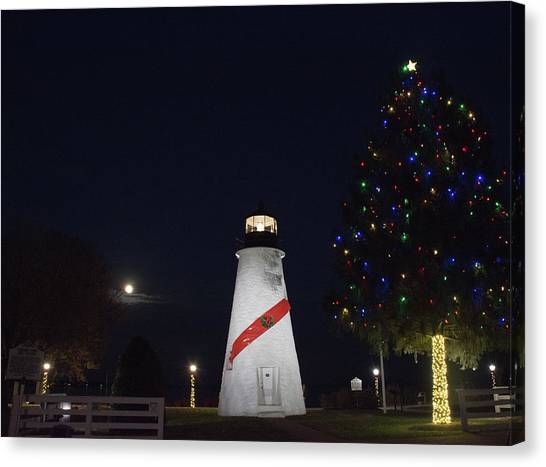 Christmas Lighthouse Canvas Print