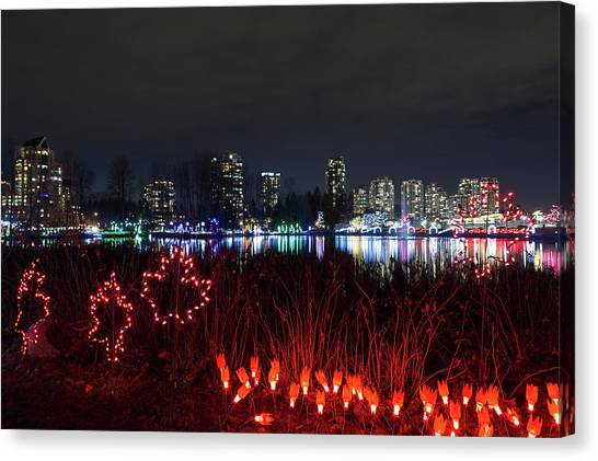 Canvas Print - Christmas Lights At Lafarge Lake In City Of Coquitlam by David Gn