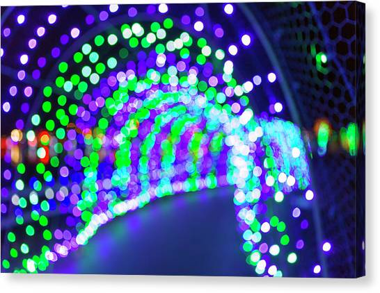 Canvas Print - Christmas Lights Decoration Blurred Defocused Bokeh by David Gn