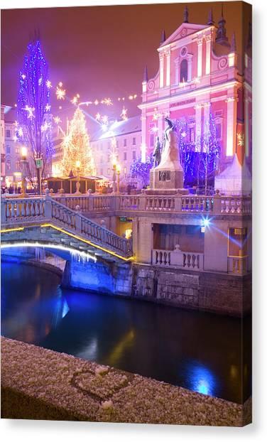 Ljubljana Canvas Print - Christmas Lights In Preseren Square In Ljubljana by Ian Middleton