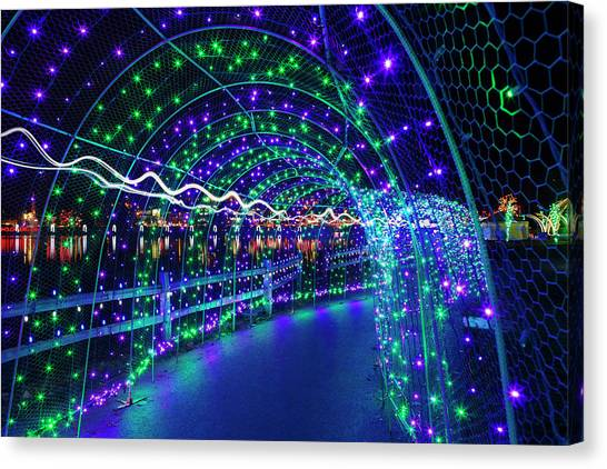 Canvas Print - Christmas Lights In Tunnel At Lafarge Lake by David Gn