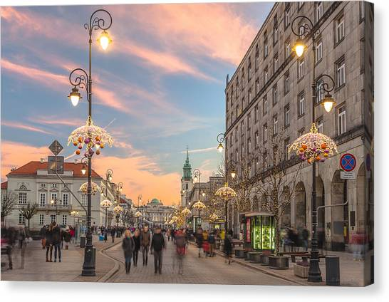 Christmas Lights In Warsaw Canvas Print