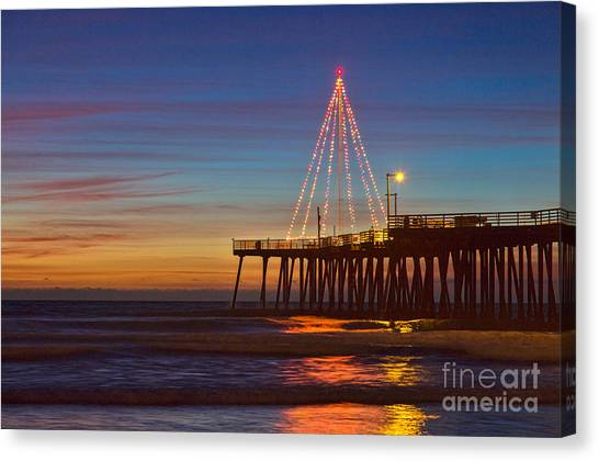 Christmas Lights On The Pismo Pier Canvas Print