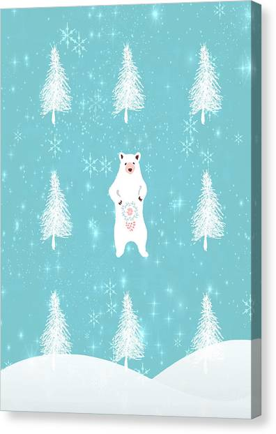 Canvas Print - Christmas Dawn - White Bear by Amanda Lakey