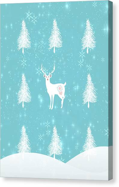 Canvas Print - Christmas Dawn - White Stag by Amanda Lakey