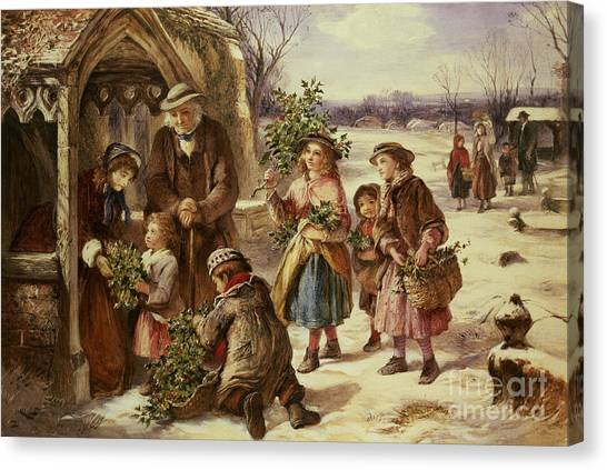 Wreath Canvas Print - Christmas Morning by Thomas Falcon Marshall