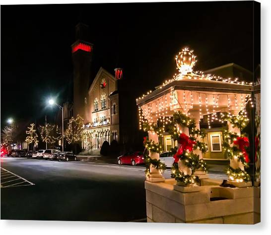 Christmas On Main Street Easthampton Canvas Print