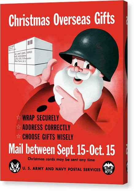 Christmas Art Canvas Print - Christmas Overseas Gifts -- Ww2 by War Is Hell Store