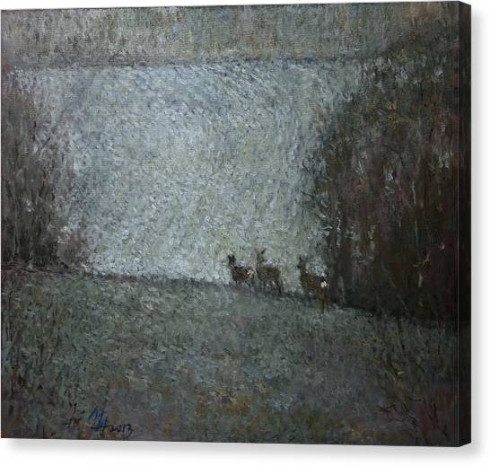 Christmas Painting With Roes Canvas Print