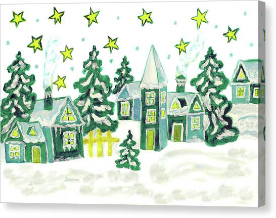 Christmas Picture In Green Canvas Print