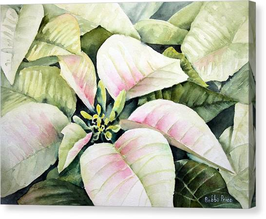 Christmas Poinsettias Canvas Print by Bobbi Price
