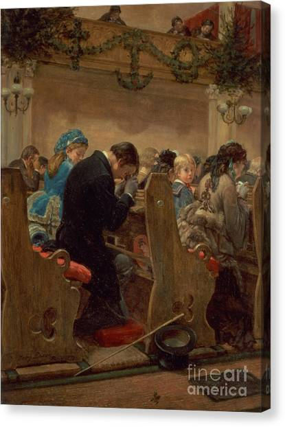Bacon Canvas Print - Christmas Prayers by Henry Bacon