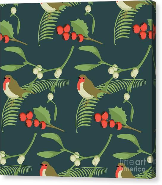Mistletoe Canvas Print - Christmas Robin by Claire Huntley