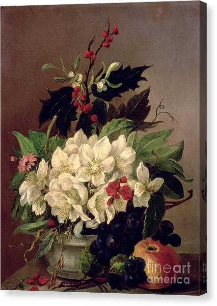 Mistletoe Canvas Print - Christmas Roses by Willem van Leen