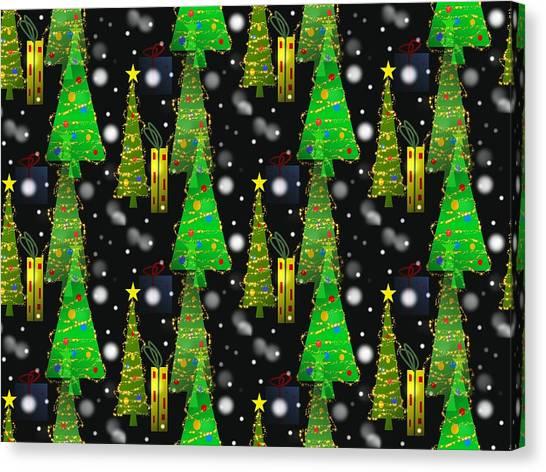 Christmas Snow Fall - Pattern Canvas Print