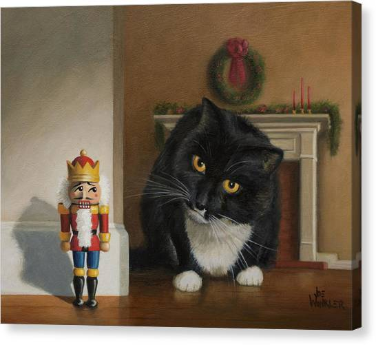 Canvas Print featuring the painting Christmas Stalking by Joe Winkler