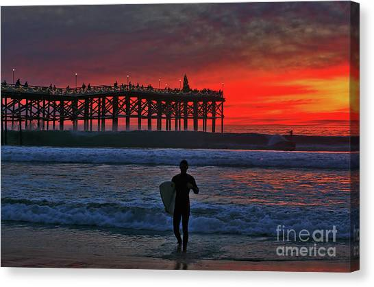 Christmas Surfer Sunset Canvas Print