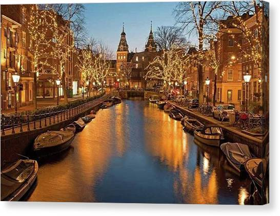 Rijksmuseum Canvas Print - Christmas Time In Amsterdam On The by Worldfotoart  Masselink