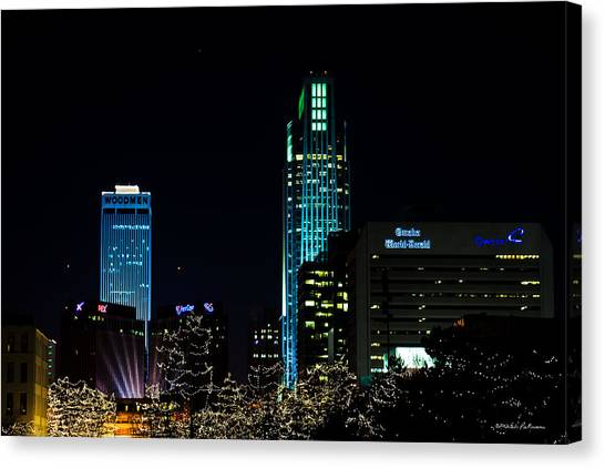 Canvas Print featuring the photograph Christmas Time In Omaha by Edward Peterson