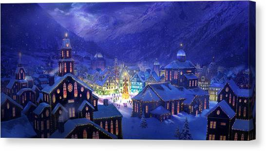 Gothic Art Canvas Print - Christmas Town by Philip Straub