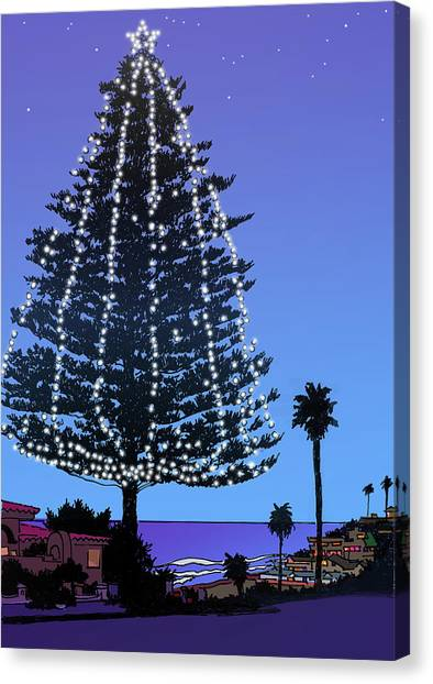 Pine Trees Canvas Print - Christmas Tree At Moonlight Beach Encinitas, California by Mary Helmreich