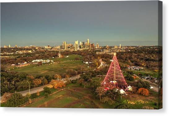 Christmas Tree In Austin Canvas Print