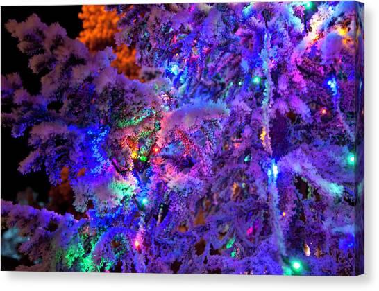 Christmas Tree Night Decoration Canvas Print