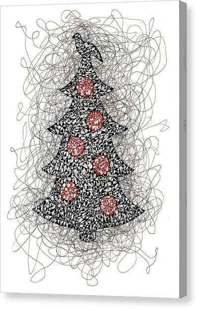 Christmas Tree Pen And Ink Drawing Canvas Print