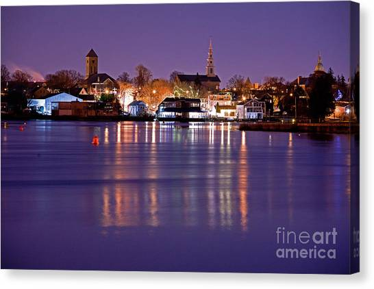 Christmas Waterfront Canvas Print by Butch Lombardi