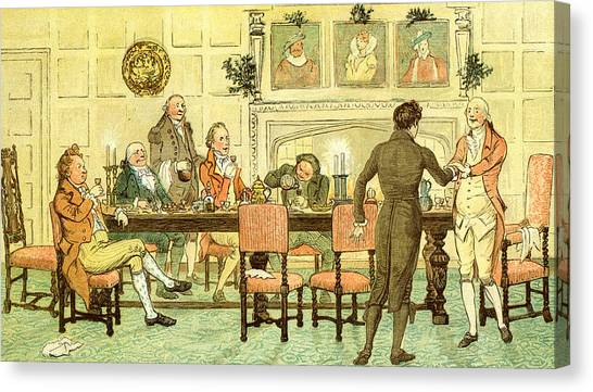 Dinner Table Canvas Print - Christmas Welcome From Squire by Randolph Caldecott