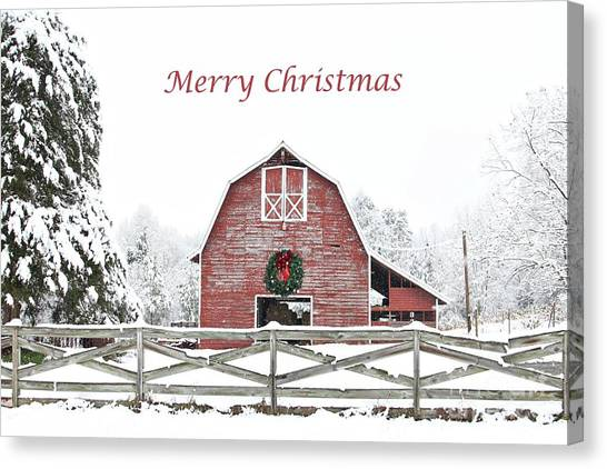 Big Red Canvas Print - Christmas Wreath Barn by Benanne Stiens