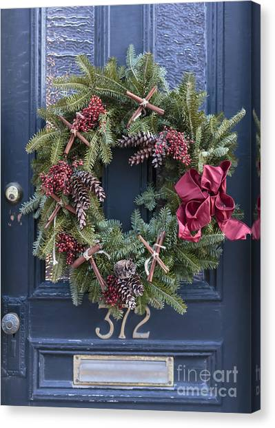 Wreath Canvas Print - Christmas Wreath by Edward Fielding