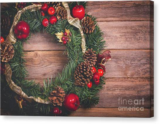 Wreath Canvas Print - Christmas Wreath  by Jane Rix
