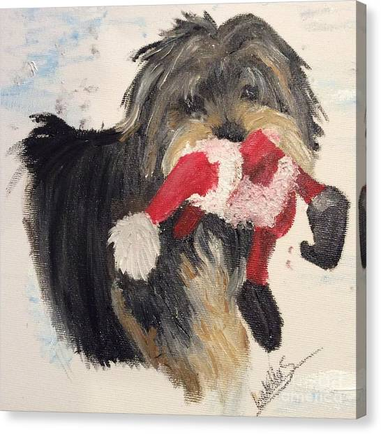 Christmas Yorkie Canvas Print