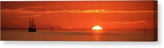 Christopher Columbus Sailing Ship Nina Sails Off Into The Sunset Panoramic Canvas Print
