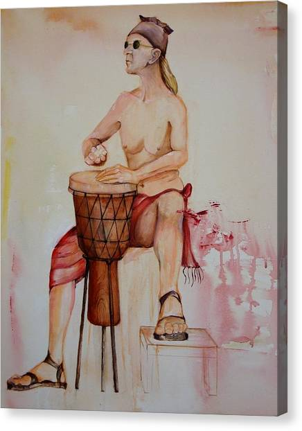 Djembe Canvas Print - Christopher On The Djembe by Georgia Annwell