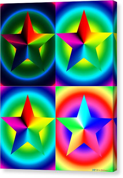 Chromatic Star Quartet With Ring Gradients Canvas Print
