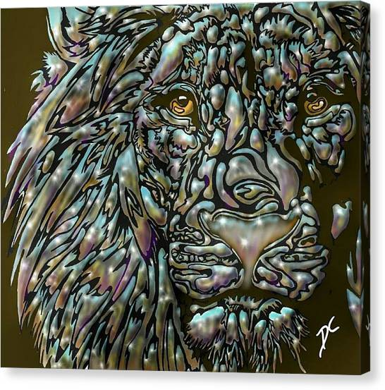 Canvas Print featuring the digital art Chrome Lion by Darren Cannell