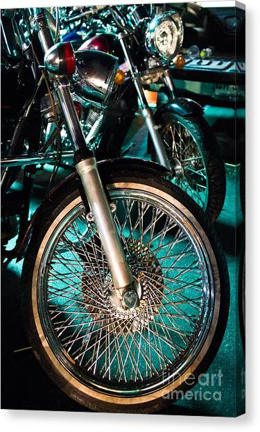 Chrome Rim And Front Fork Of Vintage Style Motorcycle Canvas Print