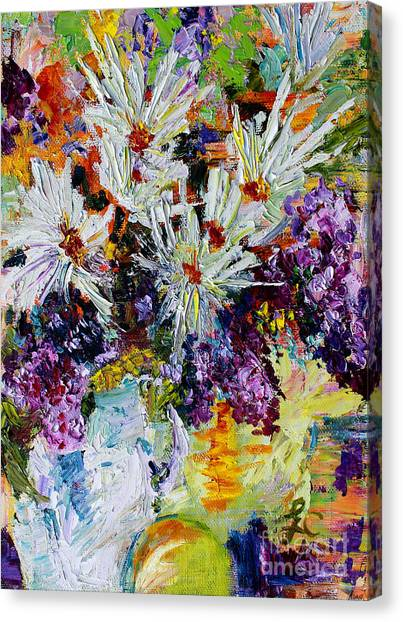 Chrysanthemums And Lilacs Still Life Canvas Print