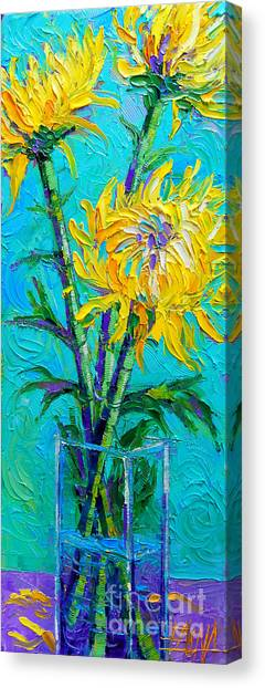Post-modern Art Canvas Print - Chrysanthemums In A Vase by Mona Edulesco