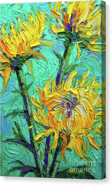 Post-modern Art Canvas Print - Chrysanthemums On Turquoise Palette Knife Impasto Oil Painting by Mona Edulesco