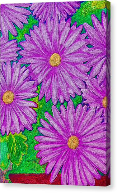 Chrysanthemums Pink Canvas Print by Adrienne Talbot