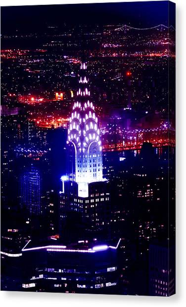 Chrysler Building Canvas Print - Chrysler Building At Night by Az Jackson